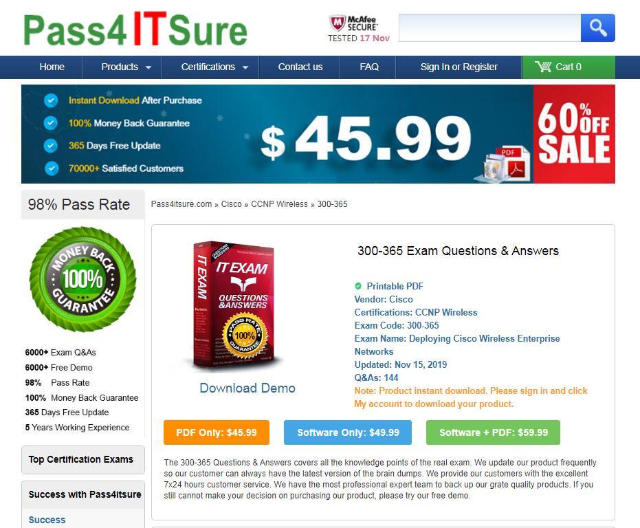Pass4itsure 300-365 exam