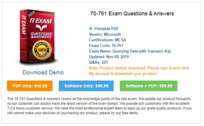 Pass4itsure-70-761-exam