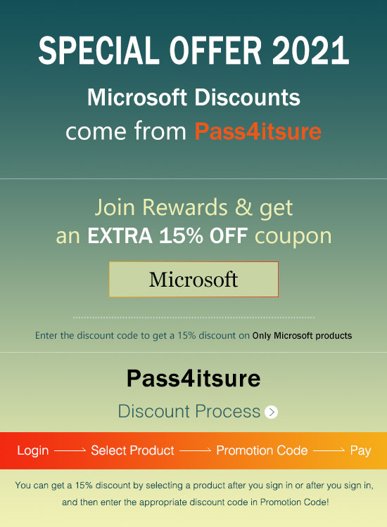 Pass4itsure Microsoft dumps discount code 2021
